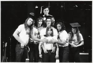 John Belushi, Chevy Chase and others in the original National Lampoon comedy troupe.