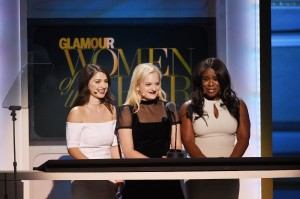 (L-R) Actress Eve Hewson, Actress Elisabeth Moss, and Actress Uzo Aduba speak onstage at the 2015 Glamour Women of the Year Awards on November 9, 2015 in New York City. (Photo by Larry Busacca/Getty Images for Glamour)