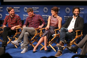 Actors Jon Lajoie, Stephen Rannazzisi, Katie Aselton, and Jason Mantzoukas speak onstage during a Q&A at PaleyLive's 'The League: A Fond Farewell' at The Paley Center for Media on December 8, 2015 in Beverly Hills, California. (Photo by Imeh Akpanudosen/Getty Images for The Paley Center for Media)