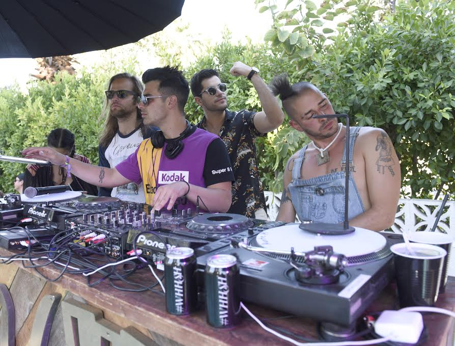 """PALM SPRINGS, CA - APRIL 17: Jack Lawless, Joe Jonas and Cole Whittle of DNCE attend The Las Vegas #WHHSH Music Lounge Palm Springs During Coachella at Ingleside Inn on April 17, 2016 in Palm Springs, California. (Photo by Vivien Killilea/Getty Images for The BMF Media Group)"""