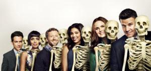 BONES: Cast L-R: John Boyd, TJ Thyne, Tamara Taylor, Michaela Conlin, Emily Deschanel and David Boreanaz. The 11th season of BONES premieres Thursday, Oct. 1 (8:00-9:00 PM ET/PT) on FOX. ©2014 Fox Broadcasting Co. Cr: FOX
