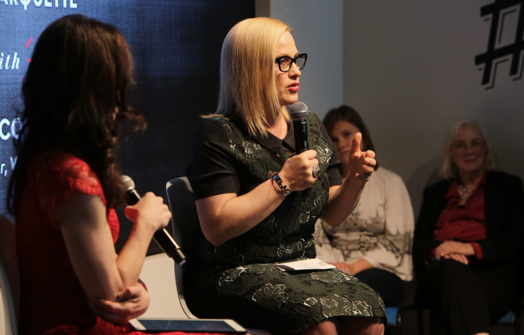 CULVER CITY, CA - FEBRUARY 26: Founder and Oscar-winning actress Patricia Arquette (R) and Vanity Fair contributor Nell Scovell speak onstage during the 'Equal Means Equal Conversation' at the 2016 Vanity Fair Social Club #VFSC for Oscar Week at PLATFORM on February 26, 2016 in Culver City, California. (Photo by Rachel Murray/Getty Images for Vanity Fair)