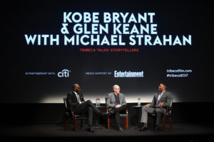 "Kobe Bryant, Glen Keane, and Michael Strahan at the Tribeca Talk for ""Dear Basketball"". (Theo Wargo/Getty Images North America)"